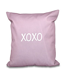 XOXO 16 Inch Light Purple Decorative Word Print Throw Pillow
