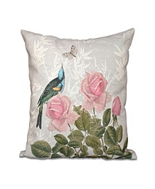 Asian Rose 16 Inch Gray Decorative Floral Throw Pillow