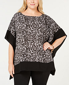 MICHAEL Michael Kors Plus Size Printed Poncho Top