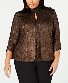Alex Evenings Plus Size Metallic Jacket & Top Set
