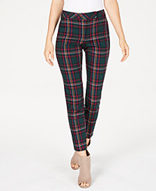 Trina Turk Extend-Tab Plaid Pants