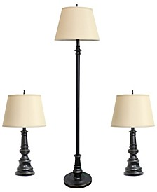 Elegant Designs 		Restoration Bronze Three Pack Lamp Set (2 Table Lamps, 1 Floor Lamps)
