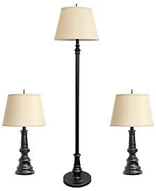 Elegant Designs Restoration Bronze Three Pack Lamp Set (2 Table Lamps, 1 Floor Lamps)