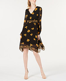 Bar III Floral-Print Chiffon Dress, Created for Macy's