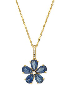 "Sapphire (2-1/2 ct. t.w.) & Diamond Accent Flower 18"" Pendant Necklace in 14k Gold"