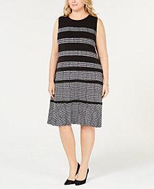 MICHAEL Michael Kors Plus Size Houndstooth-Print Sleeveless Dress