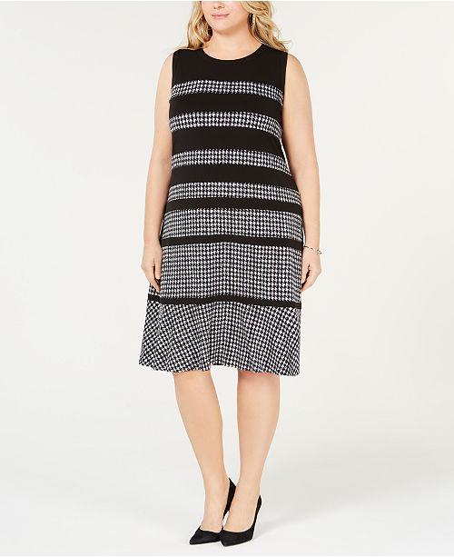Michael Kors Plus Size Houndstooth-Print Sleeveless Dress ...