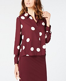 INC Polka-Dot High-Low Shirt, Created for Macy's