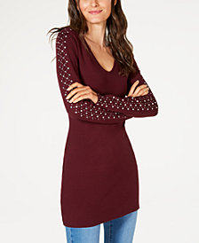 I.N.C. Rhinestone-Embellished V-Neck Tunic, Created for Macy's