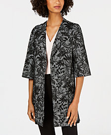Nine West Printed Jacquard Duster Jacket