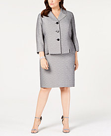 Le Suit Plus Size Printed Three-Button Skirt Suit