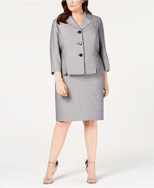7f61d0cd93ca8 Le Suit Plus Size Printed Three-Button Skirt Suit   Reviews - Wear ...