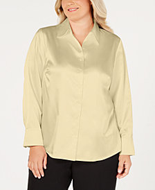 Kasper Plus Size Button-Front Tailored Blouse