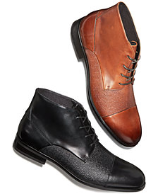 Alfani Men's Reide Textured Cap-Toe Boots, Created for Macy's