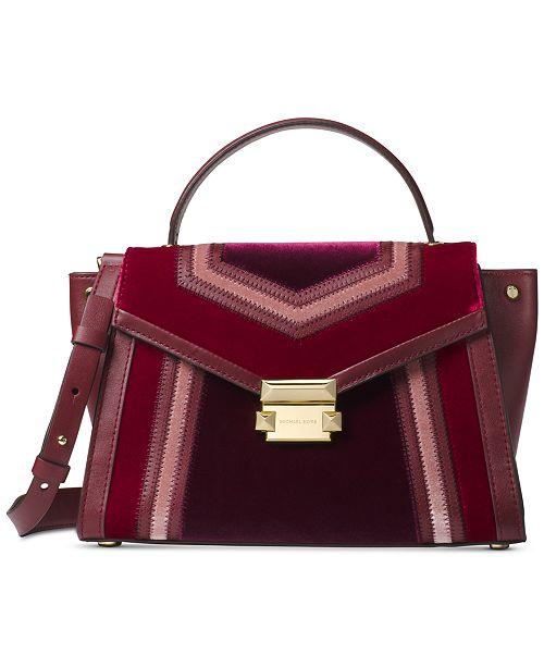 fb723e73e1cf ... best price michael kors whitney tricolor velvet top handle satchel  handbags 96e0e b157a