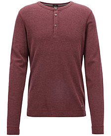 BOSS Men's Slim-Fit Henley Cotton Long-Sleeve T-Shirt