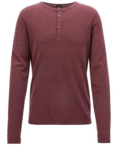 1369b5e6d Hugo Boss BOSS Men's Slim-Fit Henley Cotton Long-Sleeve T-Shirt ...