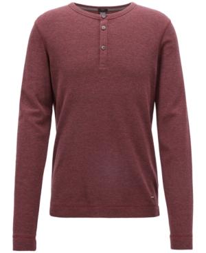 Boss Men's Slim-Fit Henley Cotton Long-Sleeve T-Shirt