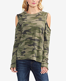 Vince Camuto Printed Cold-Shoulder Top