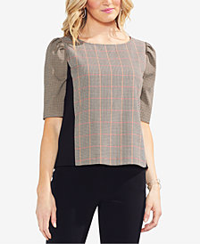Vince Camuto Puff-Sleeve Plaid Top