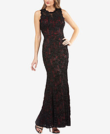 JS Collections Sequined Floral-Lace Gown