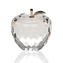 Faceted Apple with Gold Stem Art Glass Sculpture