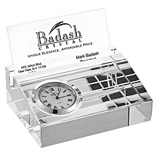 Badash Crystal Business Card Holder with Inlaid Clock