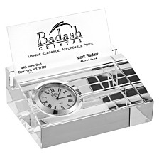 Badash Crystal Business Card Holder with Inlaid Clock