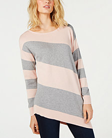 Vince Camuto Striped Asymmetrical Sweater, Created for Macy's