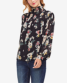 Vince Camuto Smocked Turtleneck Top