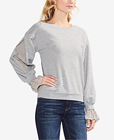 Vince Camuto Cotton Striped-Trim Sweatshirt