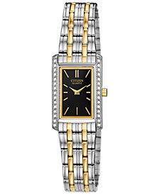 Citizen Women's Quartz Two-Tone Stainless Steel Bracelet Watch, Created for Macy's, 19x29mm