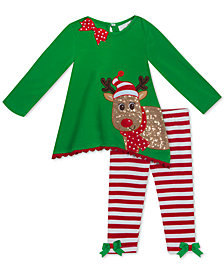 Rare Editions Toddler Girls 2-Pc. Reindeer Tunic & Striped Leggings Set