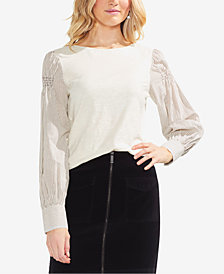Vince Camuto Cotton Striped-Sleeve Top