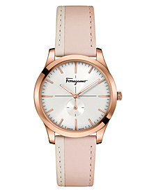 Ferragamo Women's Swiss Slim Formal Blush & Almond Leather Strap Watch 35mm