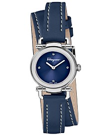 Ferragamo Women's Swiss Gancino Casual Blue Leather Wrap Strap Watch 26mm