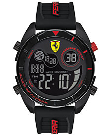 Ferrari Men's Forza Analog-Digital Black Silicone Strap Watch 45mm