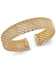 Mesh-Look Wide Bangle Bracelet in 14k Gold-Plated Sterling Silver