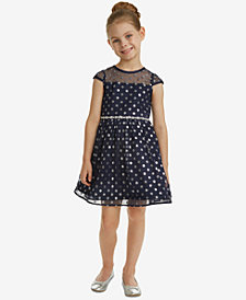 Rare Editions Little Girls Glitter-Dot Mesh Dress