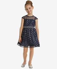 Rare Editions Little Girls Illusion Neck Glitter Dot Dress