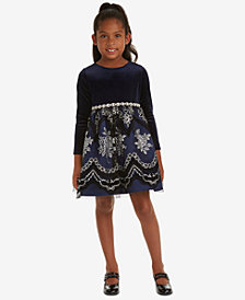 Rare Editions Little Girls Velvet Flocked Glitter-Mesh Dress