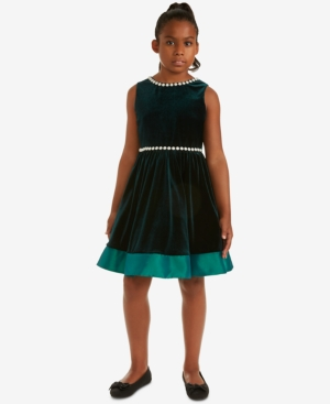 Vintage Style Children's Clothing: Girls, Boys, Baby, Toddler Rare Editions Big Girls Pearl-Trim Velvet Dress $23.93 AT vintagedancer.com