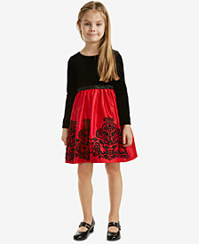 Rare Editions Little Girls Velvet Glitter Flocked Dress