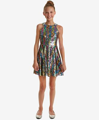 Rare Editions Big Girls Reversible Sequin Fit Flare Party Dress