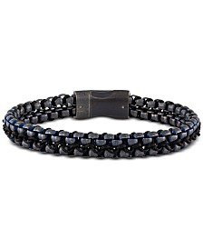 Esquire Men's Jewelry Rolo Link Bracelet in Blue Ion-Plated Stainless Steel, Created for Macy's