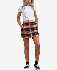 Volcom Juniors' Frockickie Plaid Zip-Front Mini Skirt