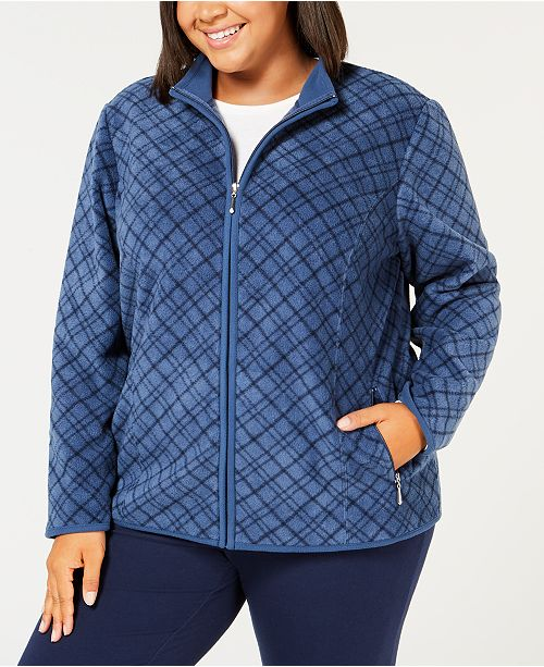ee111424380 Karen Scott. Plus Size Plaid Zip-Front Casual Jacket