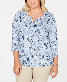 Karen Scott Plus-Size Printed 3/4-Sleeve Henley, Created for Macy's