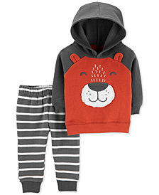 Carter's Baby Boys 2-Pc. Fleece Bear Hoodie & Striped Jogger Pants Set