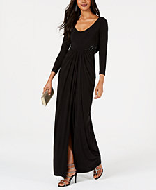 Adrianna Papell Cowl-Back Embellished Gown